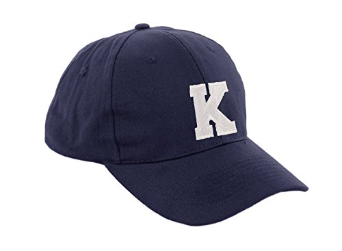 Unisex Jungen Mädchen Mütze Baseball Cap Marineblau Hut Kinder Kappe Alphabet A-Z Morefaz TM (K)