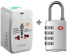 DOCOSS Set of 2- TSA Approved Metal Number Password Lock for Bag Luggage with Universal International Worldwide Travel Adapter