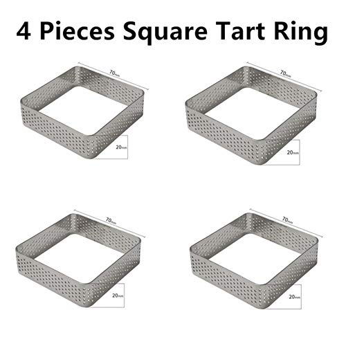 FTFSY Tart Cake Mold for Baking Dessert Ring Art Mousse Silicone 3D Mould Silikonowe Moule Tartlet Pan Pastry Tools,4 Pieces Square Ring Tart Pastry Ring