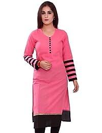 Meghalya Women's Cotton Kurta (CND_Pink_Kurti__Pink_Free Size)