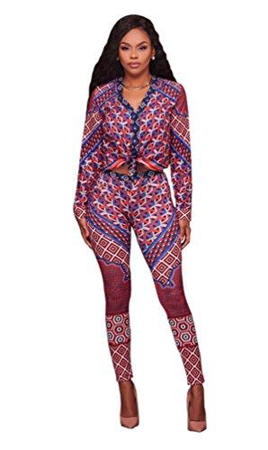 Weyeei Donna 2 Pezzi Set Manica Lunga Collo a V Maglietta + Pantaloni Tagliati Rosso