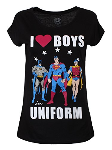 DC Comics T-Shirt I Love Boys In Uniform da donna in nero