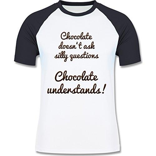 Küche - Chocolate understands! - zweifarbiges Baseballshirt für Männer Weiß/Navy Blau