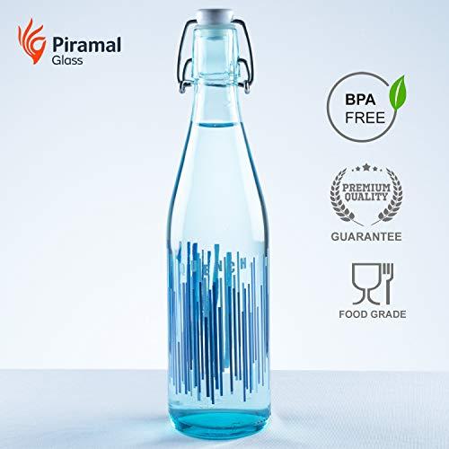 Piramal Glass Food Grade Water Bottle | Glass Water Bottle 500 ML | Glass Water Bottle Eco Friendly | Glass Water Bottle | BPA Free Water Bottle 500 ML (Blue-Quench 500 ML)