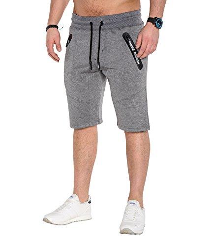 BetterStylz ZwitchBZ Court Sweatpant Short Pantalon de gymnase du sport Jogging Fermetures à Glissière étanches Pantalon Casual Bermuda Court div. Couleur (S-XXL) Gris Foncé