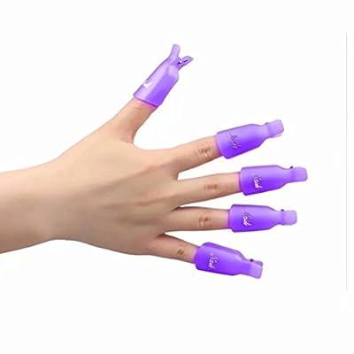 10Pcs Plastic Acrylic Nail Art Soak Off Clip Cap UV Gel Polish Remover Wrap Nail Tool
