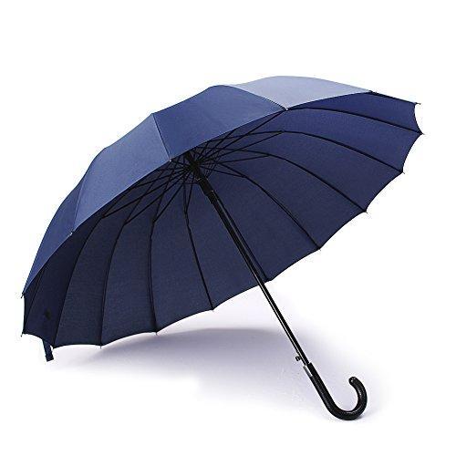 Parapluie Canne avec 16 Baleines Incassable Anti Vent Anti Retournement Anti, Parapluie de Golf Fibres de Verre Incassable Tissu 210T hydrophobe Anti Vent Grande Taille 112cm de Diamè