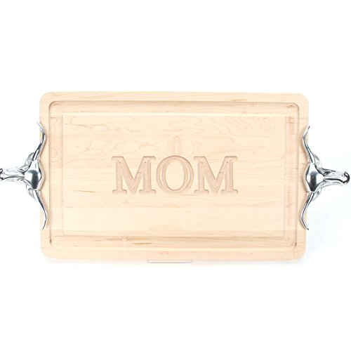 BigWood Boards 220-LLH-MOM Thick Carving Board with Large Longhorn Handle in Cast Aluminum, 15-Inch by 24-Inch by 1.25-Inch, Monogrammed