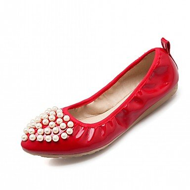 Wuyulunbi @ Chaussures Femmes Printemps Automne Confort Nouveauté Lumière Semelles Appartements Appartement Punta Tonda Imitation Perle Pour Vêtements Décontractés Rouge Blanc Us5.5 / Eu36 / Uk3.5 / Cn35