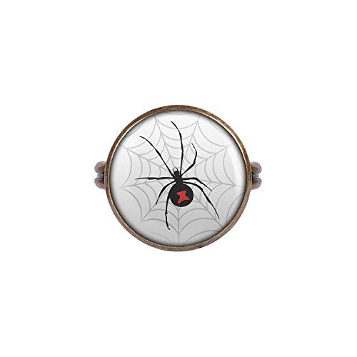 Bitsy Ohrringe Itsy (Mylery Ring mit Motiv Schwarze Witwe Spinne Netz bronze 16mm)