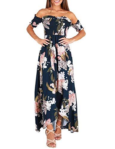 GREMMI Sommerkleider Damen Blumen Maxi Kleid Schulterfreies Abendkleid Strandkleid  Party Schulter Kleider Chiffon Kleid- Gr ee448d66ad