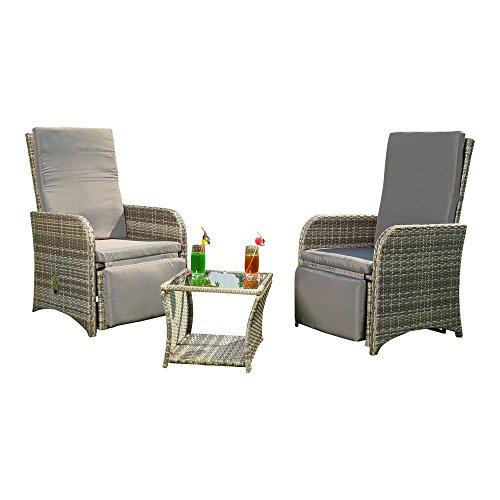 Melko Sitzgarnitur Lounge Gartenmöbel aus Polyrattan, Grau, inkl. integrierten Fußstützen + verstellbare Rücken & Fußlehnen -