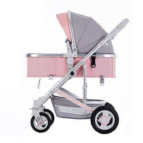 TCYLZ Kinderwagen, Aluminium Faltbare Kinderwagen, Cabrio Stubenwagen Liegender Kinderwagen mit großem Ablagekorb (Rohr Aluminium Lagerung)
