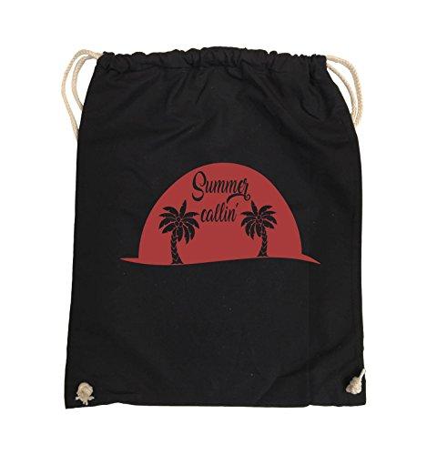 Comedy Bags - Summer callin - PALMEN - Turnbeutel - 37x46cm - Farbe: Schwarz / Pink Schwarz / Rot