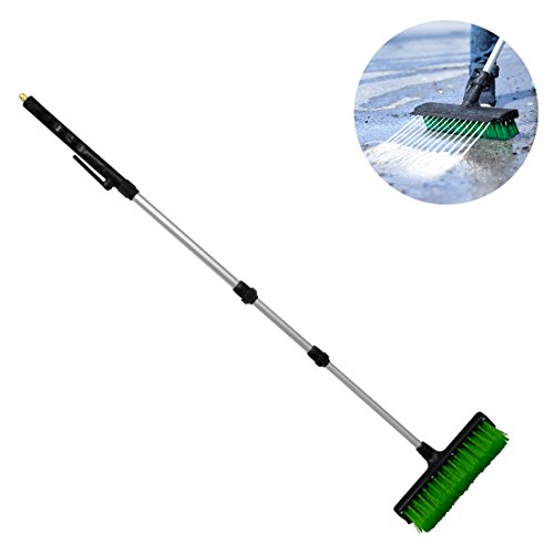 Broom Jet Multi-Action Cleaning Tool – Outdoor Water Scrubbing Washing Hose Brush Built in Squeegee plus 2 x BONUS Jet Spray Tips (As seen on High Street TV)