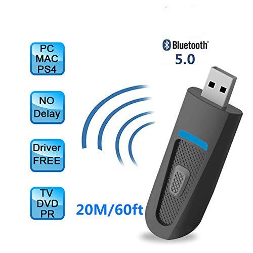 Preisvergleich Produktbild Jackcer Bluetooth 5.0 Sender Empfänger,  HiFi Wireless Audio Adapter aptX Niedrige Latenz AUX 3.5mm für Heimstereoanlage PC TV PS4 Nintendo Switch Windows 10 7 Linux Mac