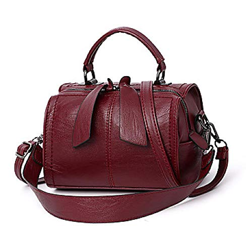 Hunter na Damen Zipper Top Handle Tasche wasserdicht PU (Polyurethan) Solid Color Dark Green/Camel, Wein -