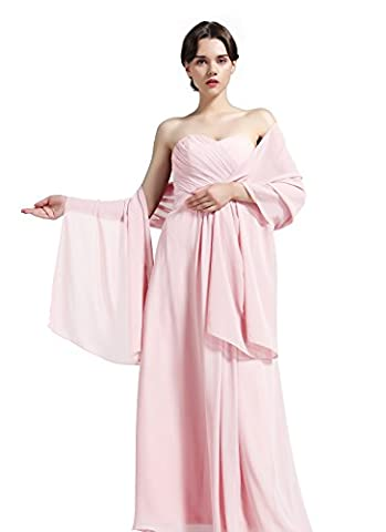 Women's Chiffon Shawl Scarves Stole Wrap for Bridesmaids Wedding Party Evening Dress S-01 Peach Puff