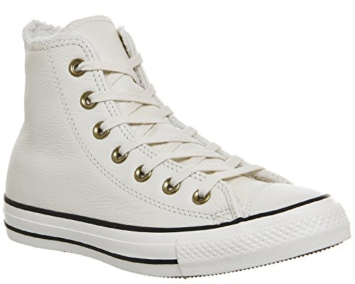 Converse Chuck Taylor All Star Shearling Leather Hi, Baskets mode mixte adulte Parchment/Black/Egret