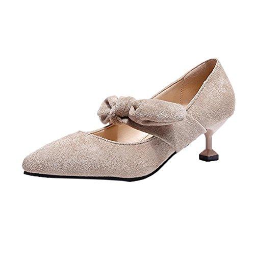 TPulling Herbst und Frühling Sommer Mode Damen﹛Verbeugen Sich Fein﹜Spitzen High Heels Bootsschuhe﹛Pumps Hochzeitsschuhe﹜Plüsch Outdoor-Schnürschuhe Zehenpartie Lässige Schuhe (CN:37/EU:36, Beige)
