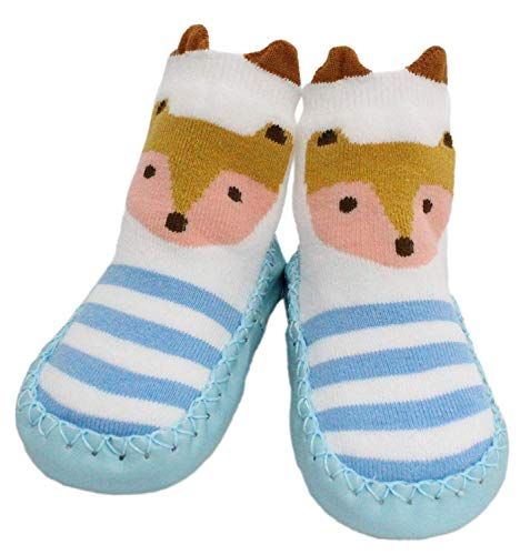 Herren Pantoffel Socke (Baby Jungen Mädchen Winter Pantoffel Socken Rutschfeste Spitz Ohr Fuchs 3-24 Monate - 9-18 Monate, Teal Blue Spotty Fox)