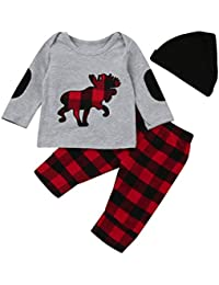 KaloryWee Baby Cloth, 3pcs Toddler Infant Baby Girls Boys Plaid Set Tops+Pants+Hat Outfits