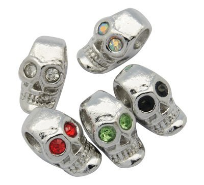 Pack of Five Colorful Rhinestone Skeleton Skull Crystal Charm Beads. Fits Troll, Biagi, Zable, Chamilia, And Style Charm Bracelets.