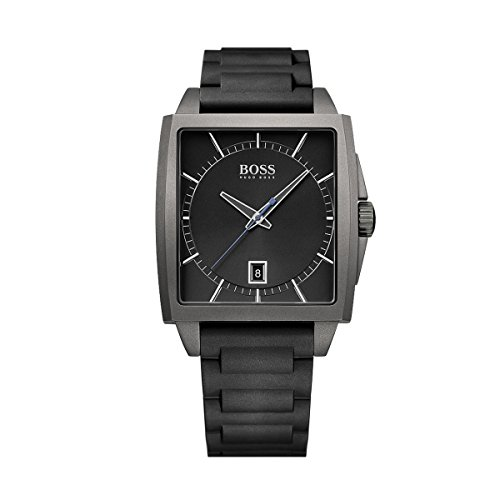 HUGO BOSS WOMEN'S BLACK RUBBER BAND IP STEEL CASE QUARTZ ANALOG WATCH 1513225