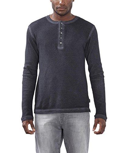 ESPRIT Herren Langarmshirt mit Knopfleiste-Slim Fit, Grau (Dark Grey 020), XX-Large (Herstellergröße: XXL)