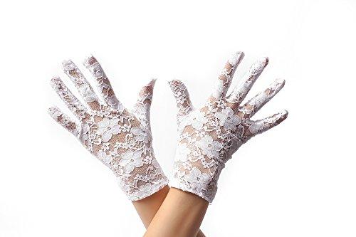 DRESS ME UP RH-007-white Handschuhe Spitze Spitzenhandschuhe Kurz Damen Weiß Gothic Goth Viktorianisch Biedermeier ()