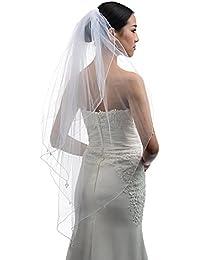 Topwedding Blanc 2 couche longueur au coude orné des perles Brial Veil avec peige