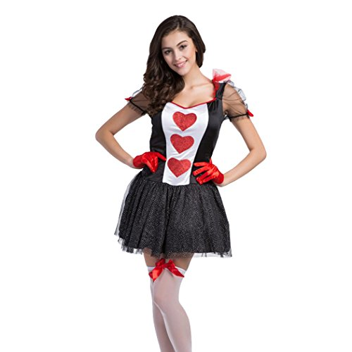 er Herzen Alice Karten-Anzugs-Kostüm, GRATIS Strümpfe (Königin Der Diamanten-halloween-kostüm)
