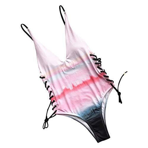Gjyia - Bikini-Regenbogen-Streifen mit Batik-Badeanzug -