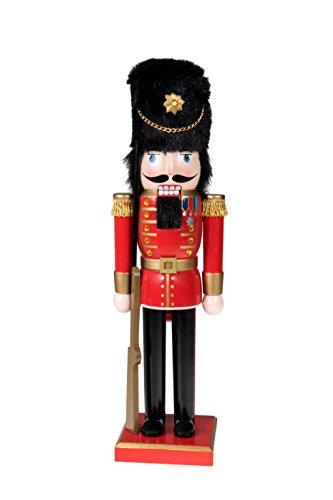 Clever Creations - Nussknacker-Soldat mit Gewehr - Festliche Weihnachtsdeko - perfekt für Regale & Tische - 100{273847f7d13a58cf9b03d5557ba5a66d2f567b7f54d0b998f5f97270e4bc513c} Holz - Uniform in Rot, Gold und Schwarz - 35,6 cm