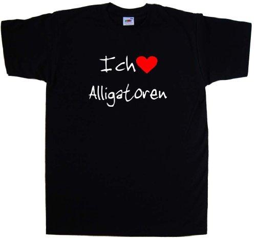Ich Liebe Alligatoren T-Shirt, Schwarz (Weiß und Rot Motiv), Größe 60/62 - Alligator-erwachsenen T-shirt