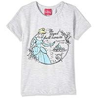 Disney Girl's Princess T-shirts, Grey (Grey Marl), 7-8 Years