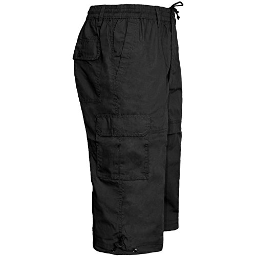MENS ELASTICATED WAIST SUMMER COTTON SWIM BEACH CARGO COMBAT 3/4LONG SHORTS PANT[Black ,L]