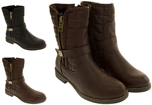 Footwear Studio Keddo Faux Cuir Vraie Laine Doublure Bottines Femmes