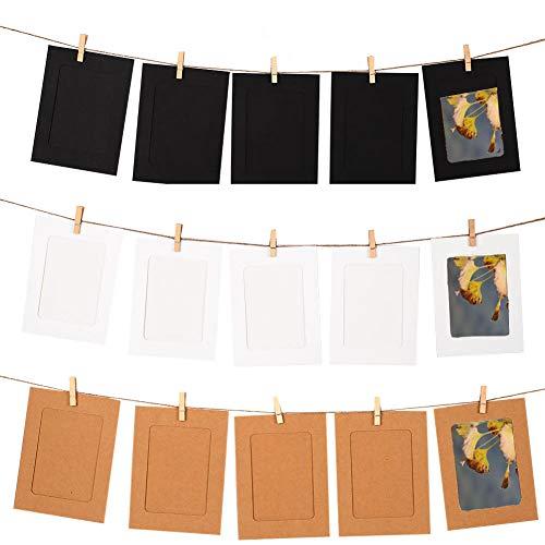 Tocone 30pcs DIY Cornice Portafoto Cornici Carta Foto per Foto da Parete Decor con 30pcs Clip e 3 Corde per Foto 4x6in