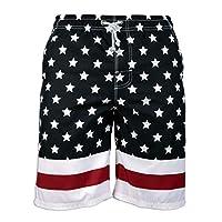 سراويل قصيرة رجالية من Prefer To Life، سريعة الجفاف ملابس السباحة شاطئ عطلة حزب برمودا السباحة السراويل الكبيرة American Flag-black XX-Large