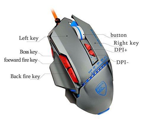 dollermy Gaming Maus 3200DPI 8Tasten USB Wired LED Optische, Aluminium Legierung Basis (4Farben Atem LED Hintergrundbeleuchtung)
