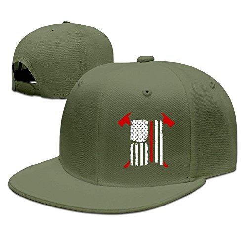 lears Justierbare Baseball-Mütze-Kappen Unisex/Männer/Frauen - Feuerwehrmann-rote Linie amerikanische Flagge mit gekreuzten (Erwachsene Rot Feuerwehrmann Hut)