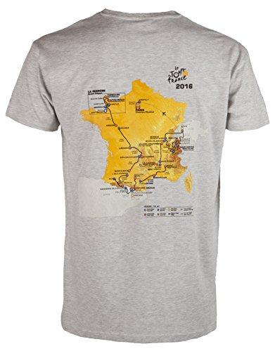 Le Tour De France de Ciclismo–Parcours 2016–Camiseta Oficial–para Hombre, Talla DE Adulto, Color Gris - Gris, tamaño XXL