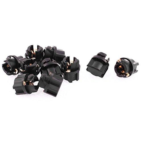 sourcingmap 10 Pièces T5 Tableau De Board Jauge Ampoule Lampe Support Douille Noir