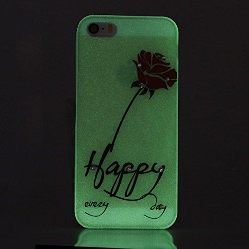 Etsue Silikon Bing Hülle für iPhone SE/iPhone 5S Night Luminous Glow TPU Case, Glitzer Sparkles Diamant Strass Bunte Blumen Schmetterling Mädchen Silikon Schutzhülle Weich Rückseite Cover Transparent  Happy-Rot Rose Blumen
