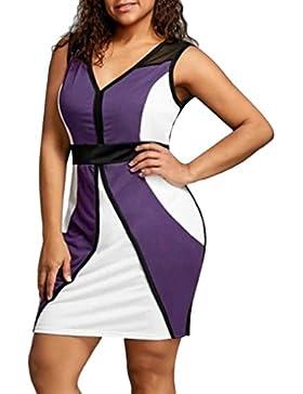 Vestido Mujer Tefamore Atractivo elegante Halter Manga Corta con Cuello V Tops Casual Slim Evening Dress,Más
