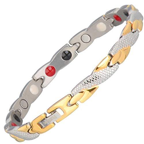 GJ Edelstahl Tier Armband Armband europäischen und amerikanischen Damen Schlange Armband Titanium Stahl Schlange Armband plattform Vier in Einem negativen ion Magnet schmuck (Farbe : Gold) -