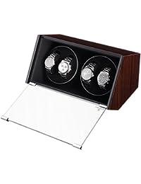 [Regalo Dia del Padre] Watch Winder, Caja giratoria, Calidad premiu de MDF lacado con gran vitrina para 4 relojes, Marron