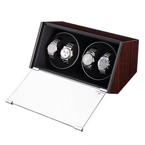 CRITIRON Uhrenbeweger für Automatikuhren, Ausstellungs-Holzbox mit zwei sich drehenden Einheiten für insgesamt 4 Uhren, Braun