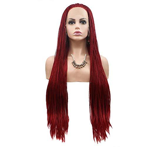 LY7 Synthetik Lace Front Perücke Lange Rot Geflochten Dreadlocks Perücke für Afro Frau Hitzebeständig Perücke